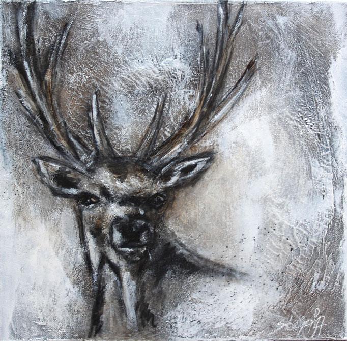 Hirsch Vintage 1, 30x30x3,5 cm, Acryl Mischtechnik, 2017