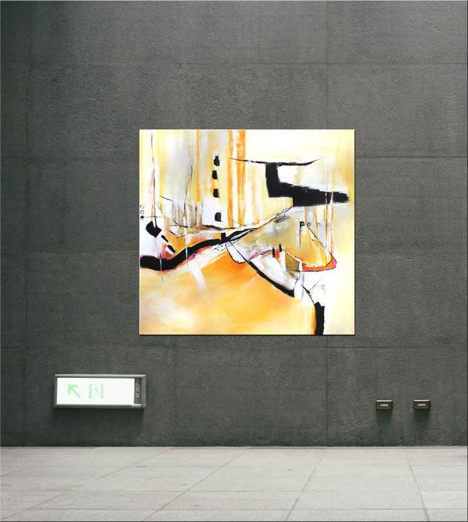 Raumansicht - Cassy, 100x100x2 cm, Acryl Mischtechnik, 2017