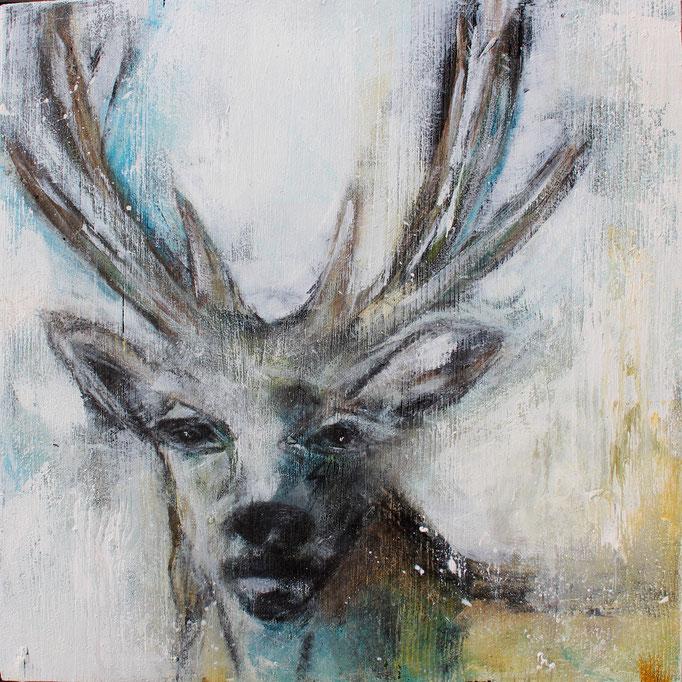 Hirsch 5 30x30x3 cm, Acryl Mischtechnik auf Holzplatte, 2017