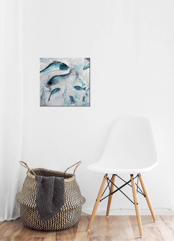 Raumansicht - Treiben lassen, 30x30x3,5 cm, Acryl Mischtechnik, 2017