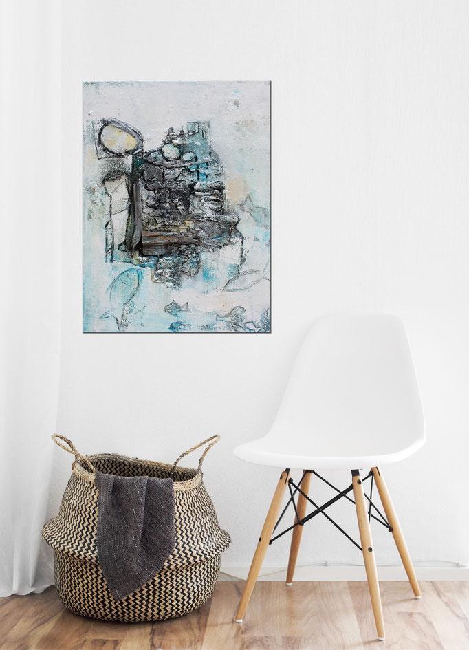 Raumansicht - Fische Sieg, 50x70x2 cm, Acryl Mischtechnik, 2017