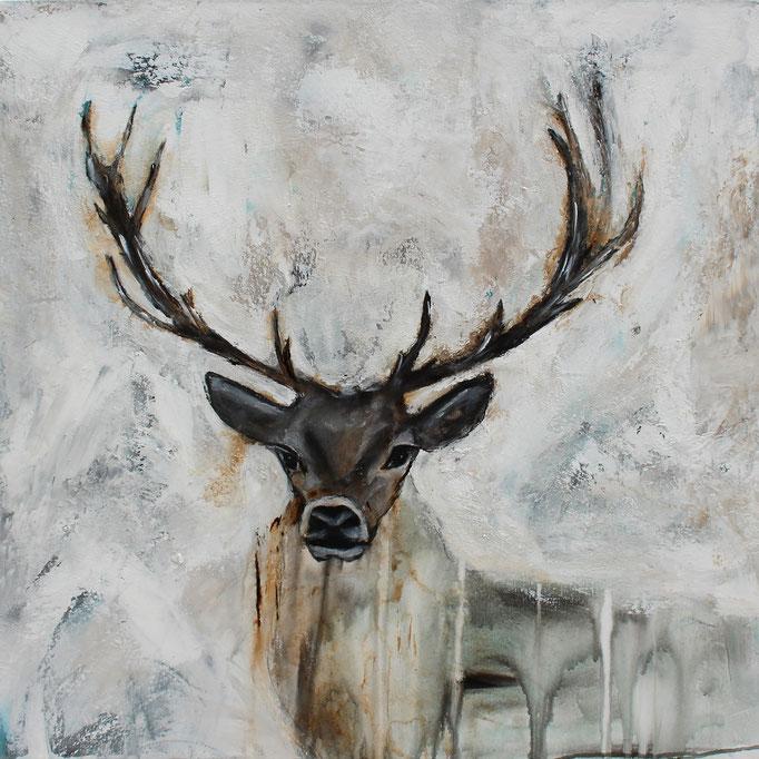 Hirsch Vintage 2, 80x80 x4 cm, Acryl Mischtechnik, 2017