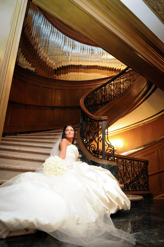 Wedding day portrait held at the Athletic Club, Columbus Ohio