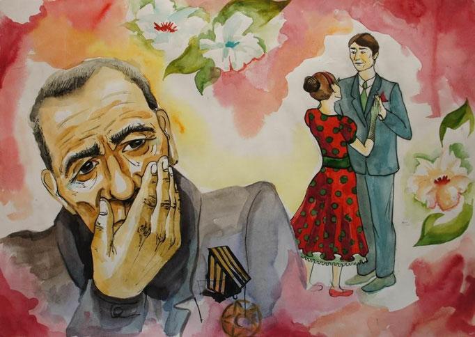 Воспоминание ветерана ( по рассказу В. П. Астафьева «Тоска по вальсу»), Сокова Екатерина, 16 лет
