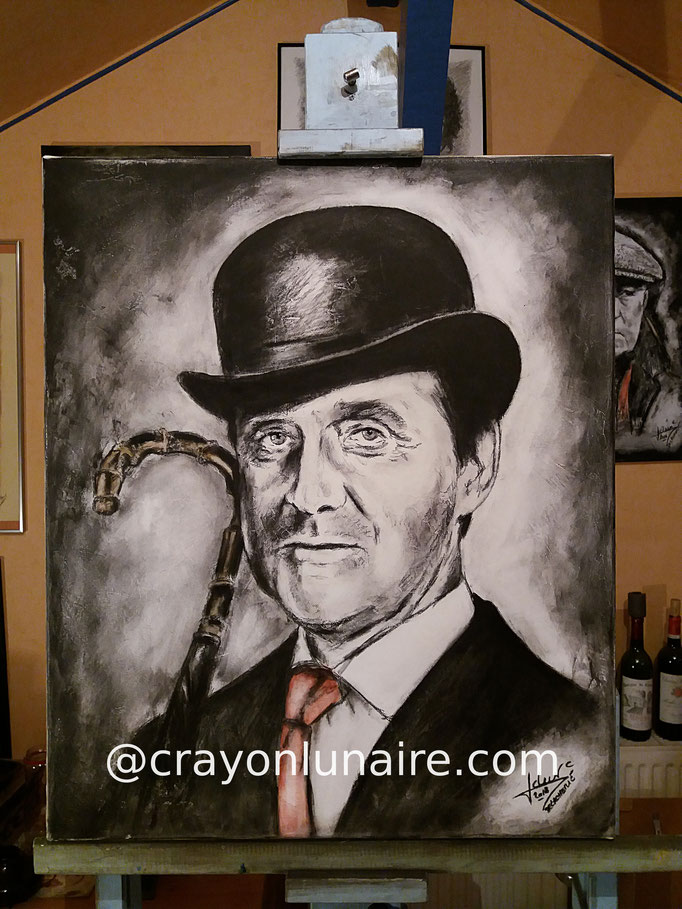 Patrcik Macnee alias John Steed Charcoal and Tempera Format 60 x 50