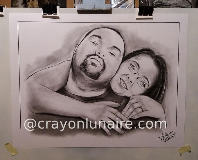 Portraits jeune couple au fusain