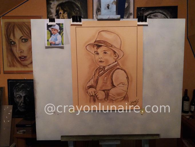 Portrait-sanguine-enfant-chapeau