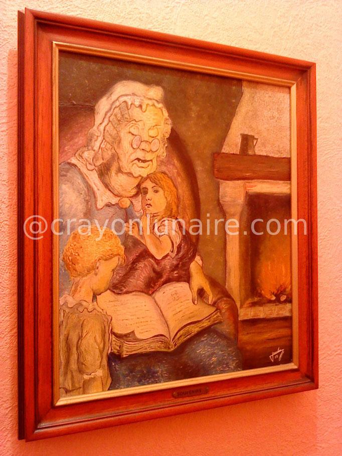 La veillée. Huile sur toile 1983.