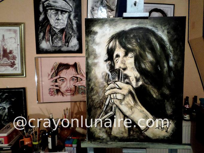 Roger Waters : Fusain + huile sur toile. Format 70 x 50