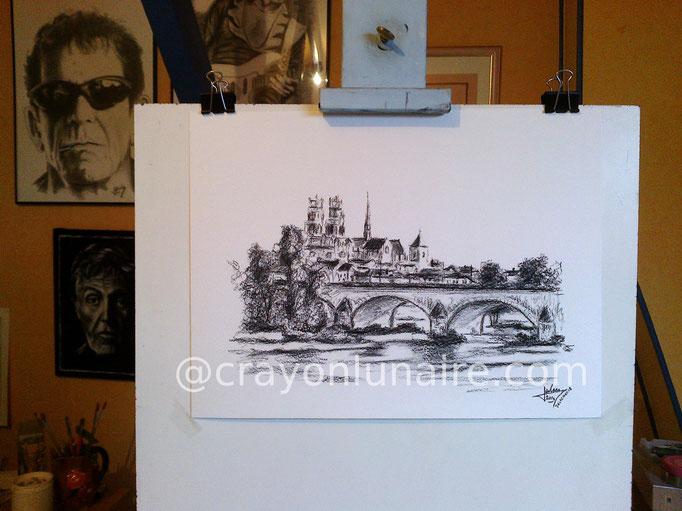 Pont George V à Orléans - Fusain sur papier blanc.