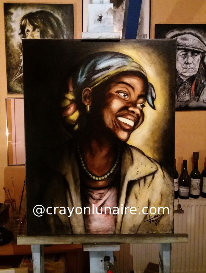 Portrait-africaine-huile-sur-toile