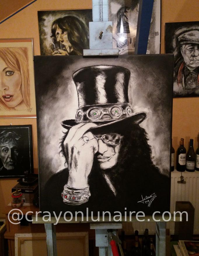 Slash-portrait-huile-et-fusain