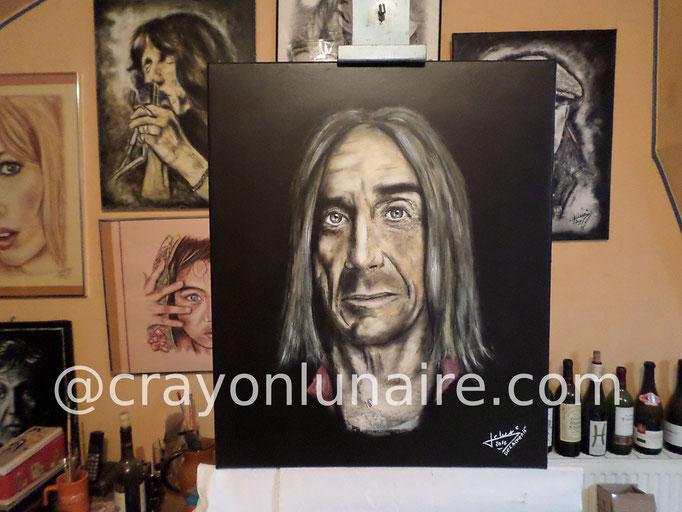 Iggy Pop : Fusain et peinture à l'huile sur toile. Format 65 x50