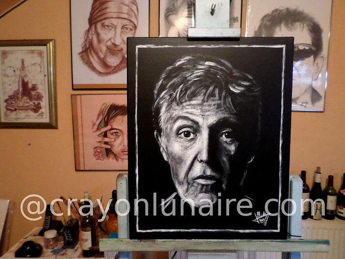 Paul Mc Cartney : Huile sur toile. Format 50 x 40.