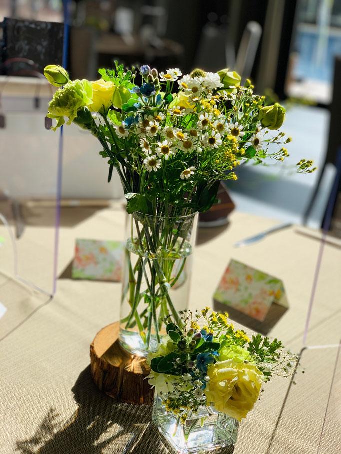 サスティナブルな飾りでお花はお持ち帰りいただけます