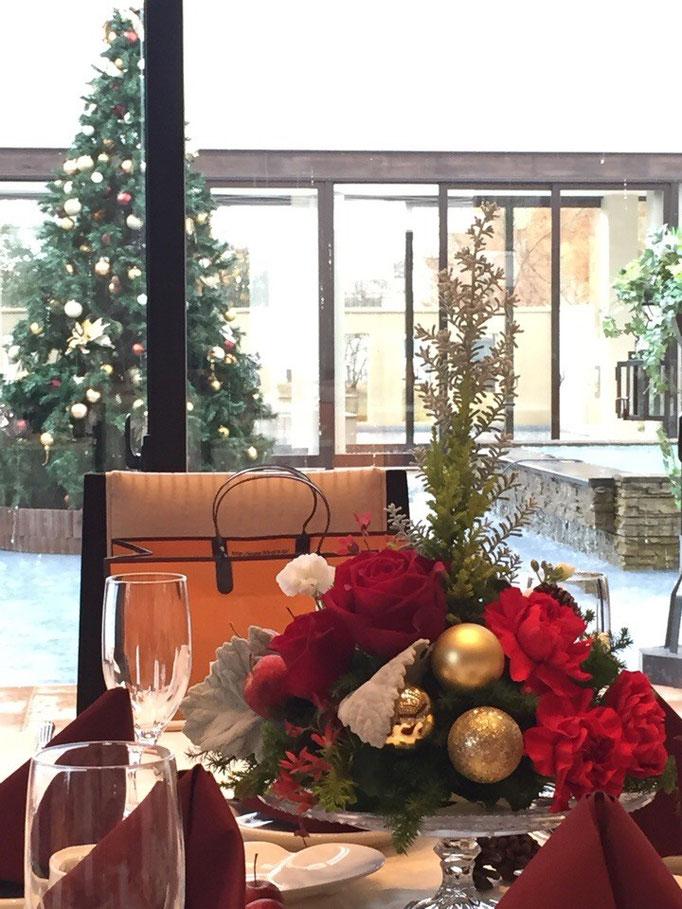 クリスマスの卓上装花