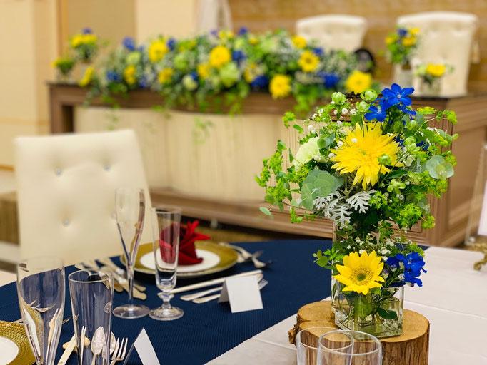 イエロー×ブルーの花飾り