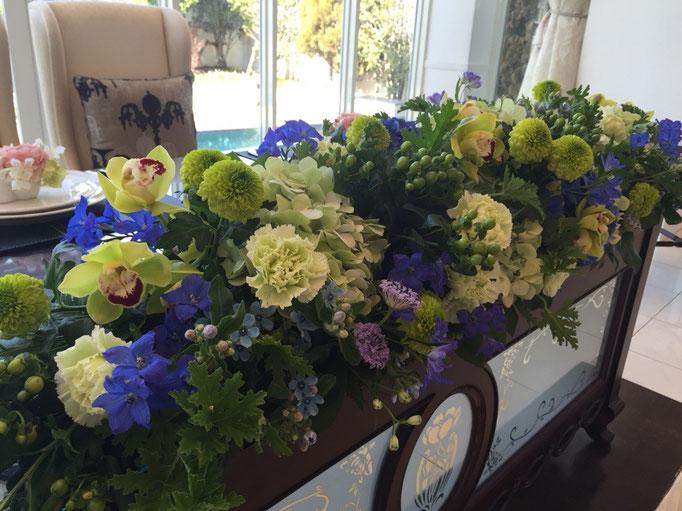 ウェディング装花 ブルー×グリーン
