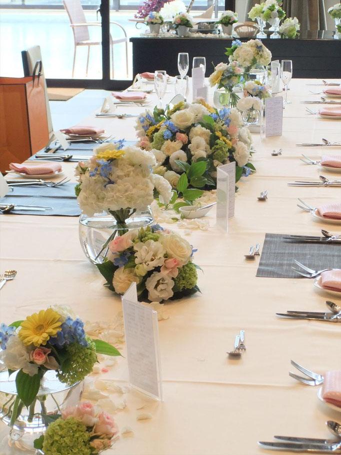 オリジナルウェディング 流しテーブル装花
