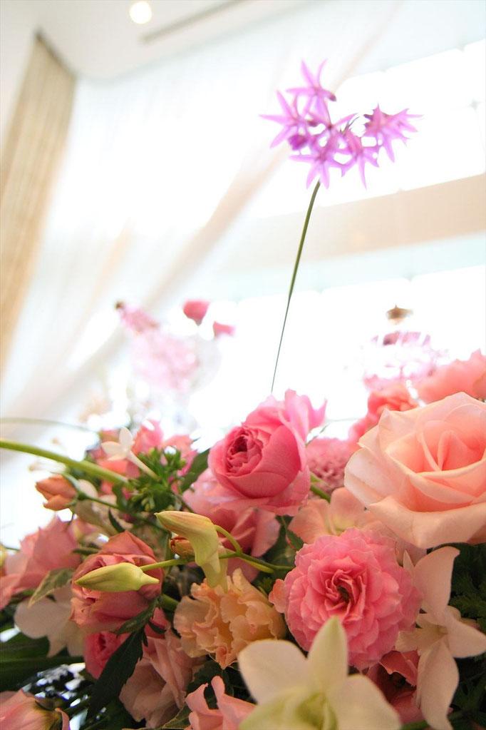 ピンク バラの装花