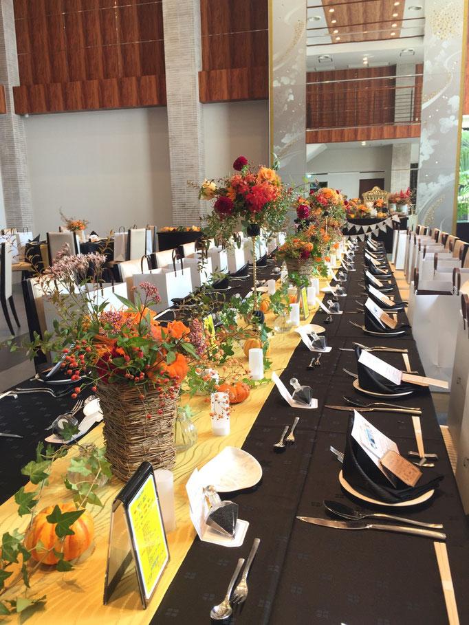 ハロウィン流しテーブル装花 ララシャンスベルアミー