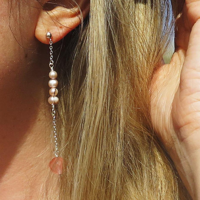Ohrhänger, rosa Perlen, Rosenquarz, Sterling Silber, 59.50,-