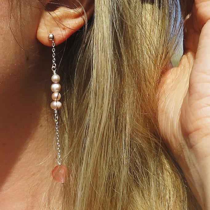Ohrhänger, rosa Perlen, Rosenquarz, Sterling Silber