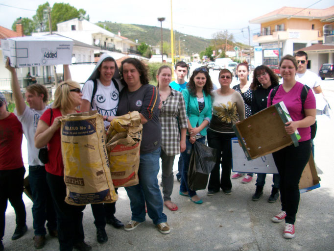 Volunteers collecting paper for paper recycling