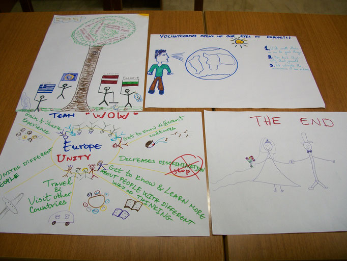 Posters about benefits of being a volunteer, done by participants