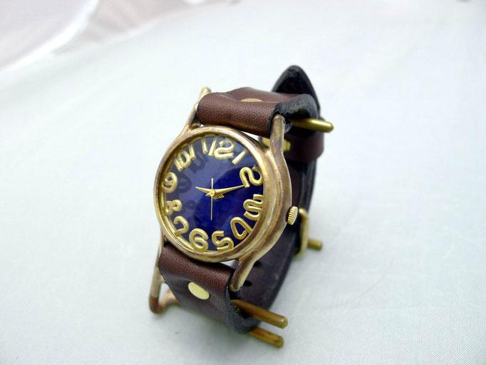 """#355 """"On Time3-B"""" 真鍮インデックス カラーダイアルBL(ブルー)/BR  ¥18,000(消費税別)"""