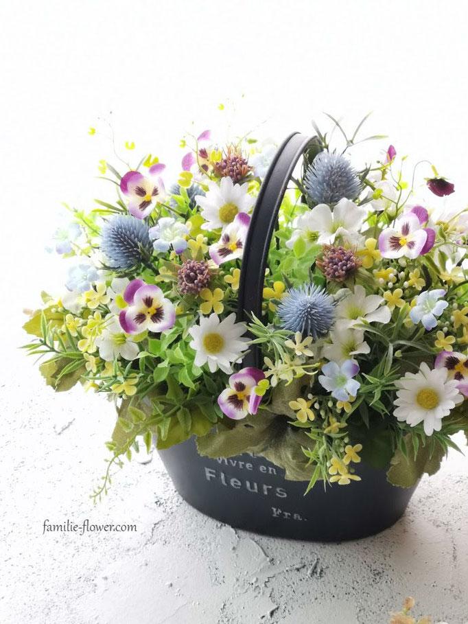 ビオラの寄せ植え風造花アレンジメント af-67