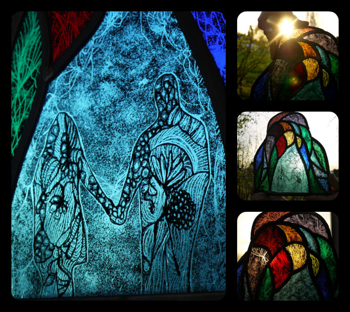 One. Technique: Stained glass, painting