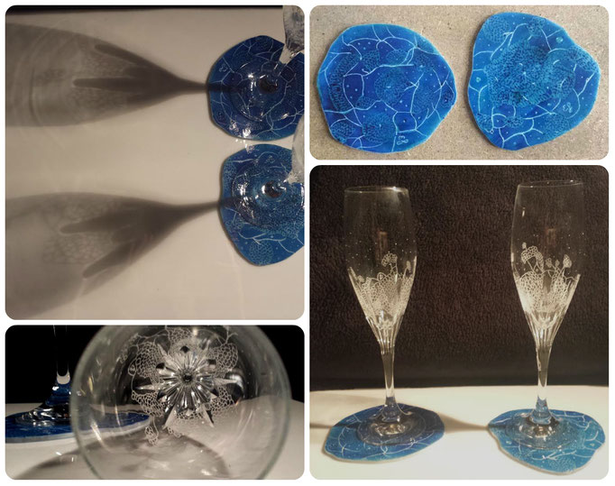Two unique crystal hand engraved glasses with two unique hand engraved and painted coasters. Inspired by the owner