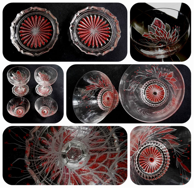 Een set van twee uniek hand gegraveerde en beschilderde glazen met bijpassende uniek gegraveerde en beschilderde onderzetters. Geïnspireerd naar de eigenaresse