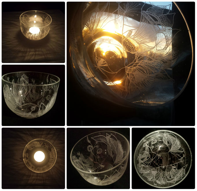 A mouthblown and unique hand engraved candleholder. Inspired by the owner