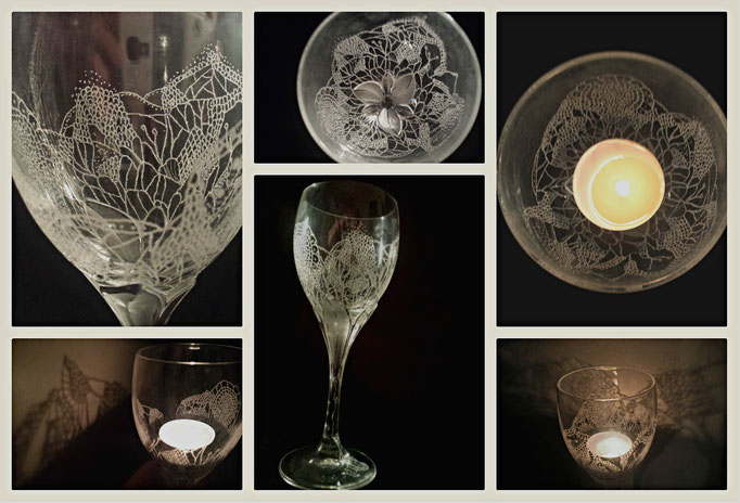 A crystal and unique hand engraved candleholder. Inspired by the owner