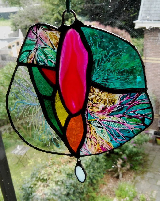 Blossom. Tecnhique: Stained glass, painting, engraving