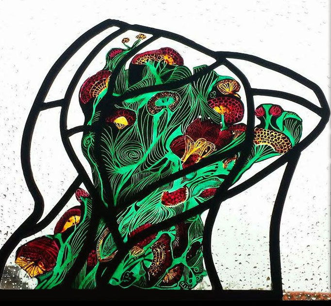 Mirte. Techniek : glas in lood, brandschilderen  (dit object is tijdens mijn opleiding gemaakt)