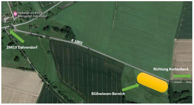 Skizze Anfahrt Blühwiesen-Feld zwischen Dahrendorf und Kortenbeck