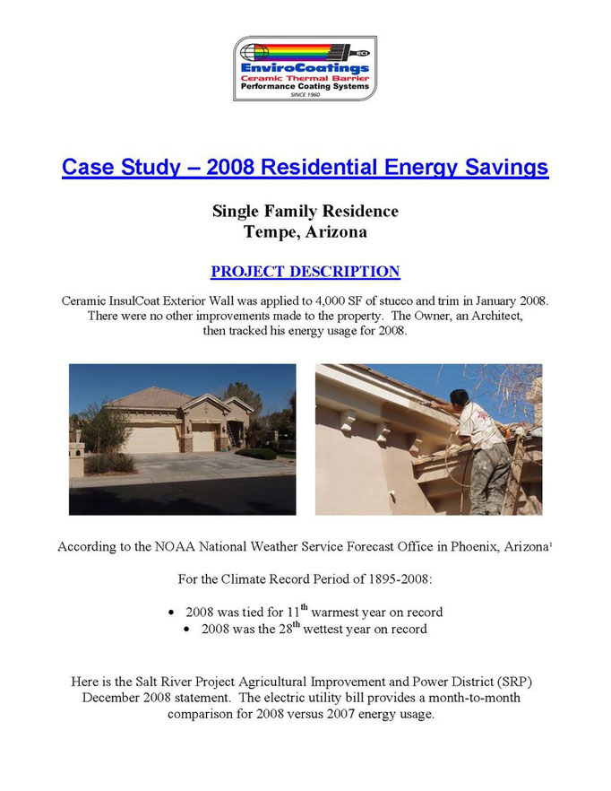 EnviroCoatings Cool Wall Energy Saving Paint Case Study, 2007-2008 Tempe, AZ Page 1
