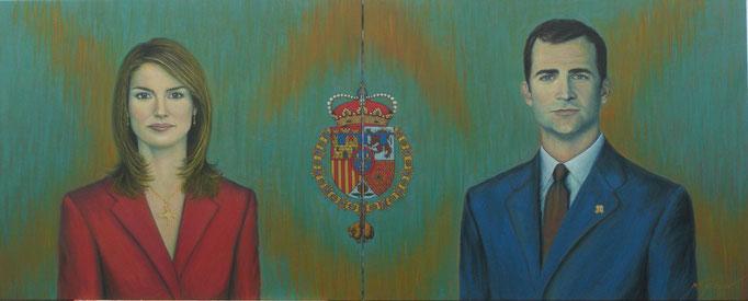 Los Reyes de España - Felipe VI - 162 x 65cm al óleo sobre lienzo
