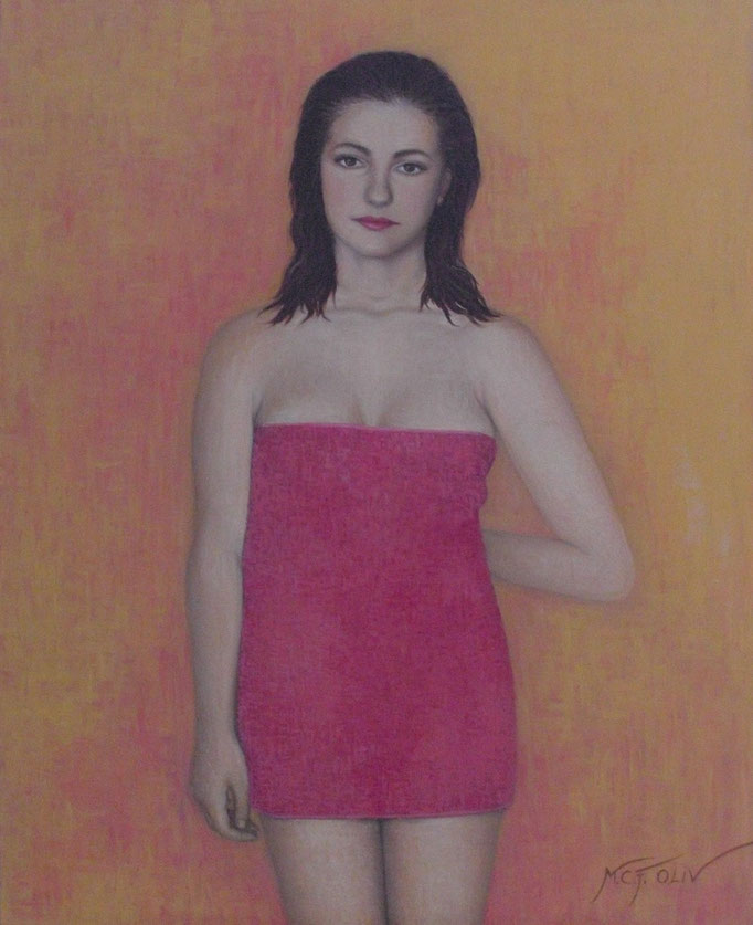 Ali con toalla rosa - 73 x 100 cm