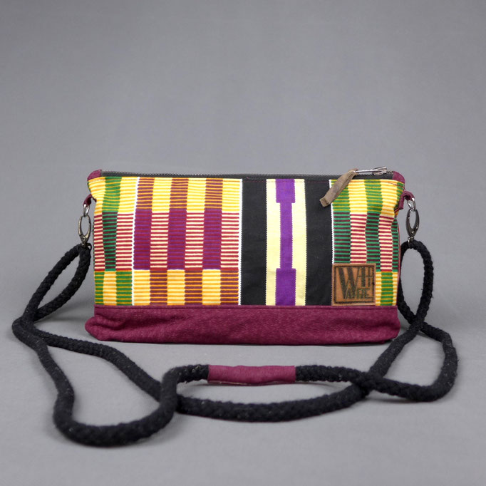handbag with african wax print and leather