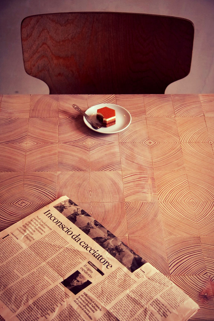 end grain wood dinning table