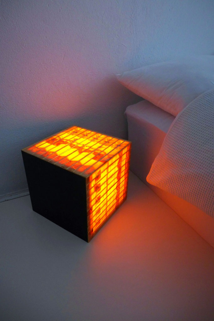 end grain cube lamp