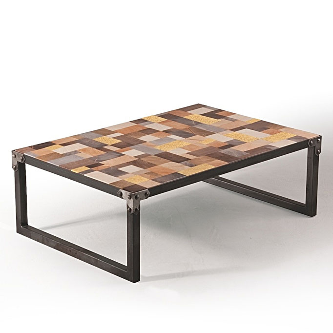 coffee table end grain multicolor/brown