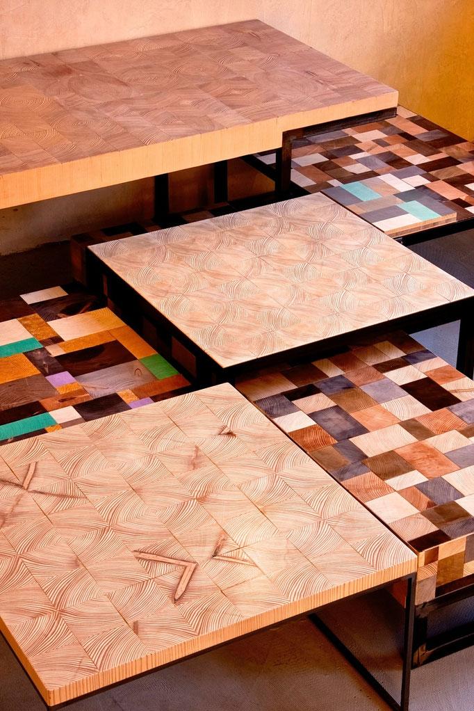Kollektion WHARE block's Hirnholz Beistelltische handgefertigt