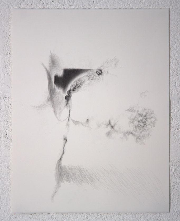 """""""Ce qui se fracasse en silence"""", dessin, 50,5x65,5 cm, graphite sur BFK Rives, 2019"""