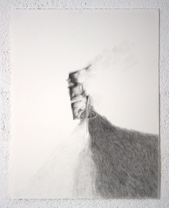 """""""Déraillement"""", dessin, 50,5x65,5 cm, graphite sur BFK Rives, 2018"""