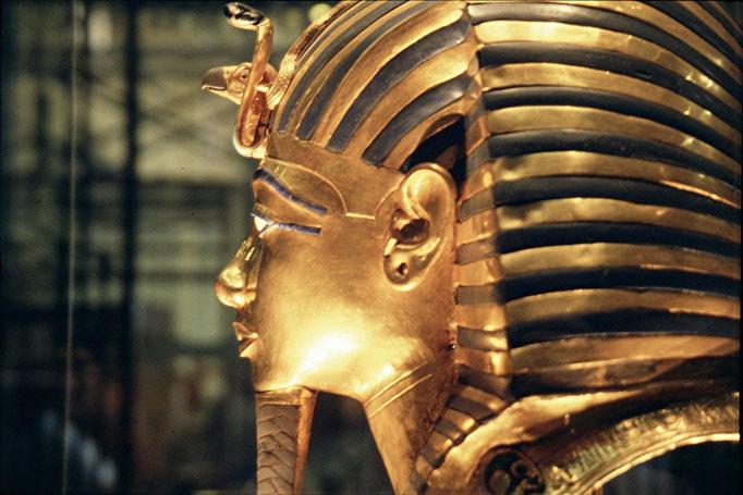 Masque d'or de Toutankhamon au musée du CAIRE.